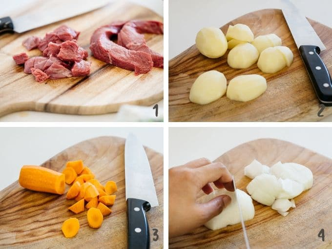 4 photo collage of cutting each ingredients