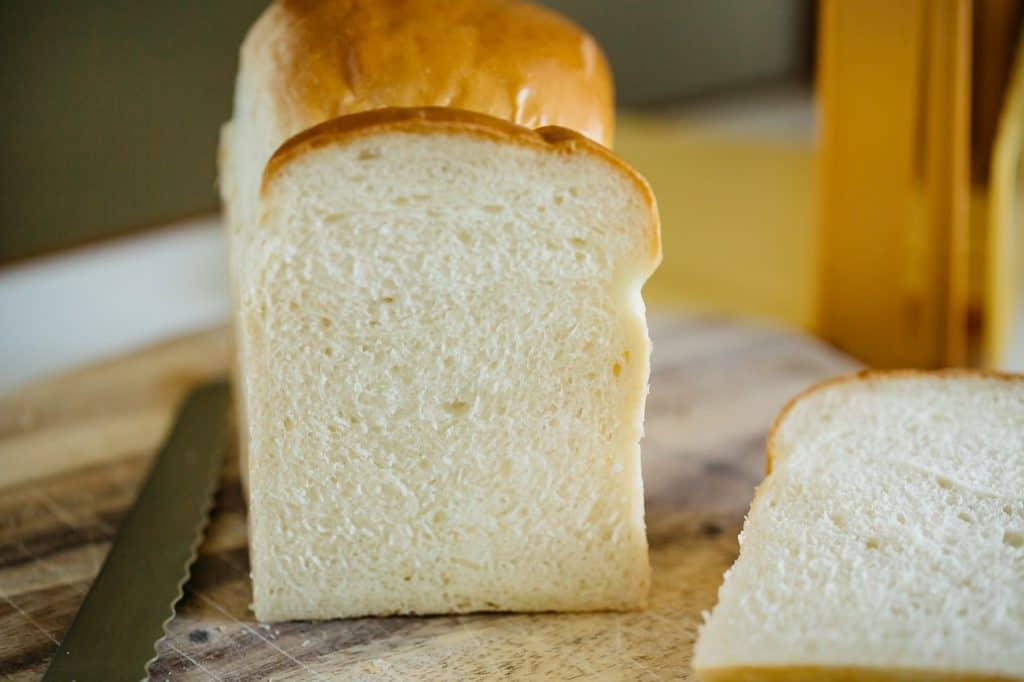Shokupan loaf cut surface