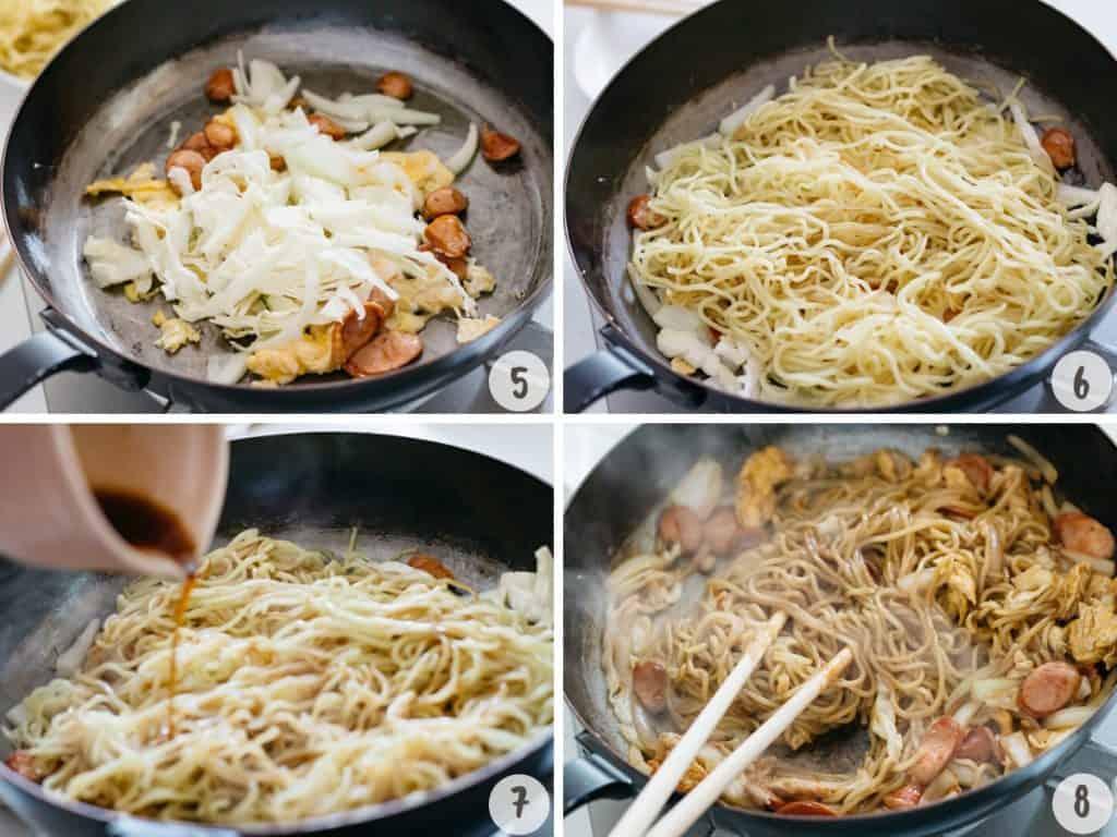 making yakisoba in 4 photos