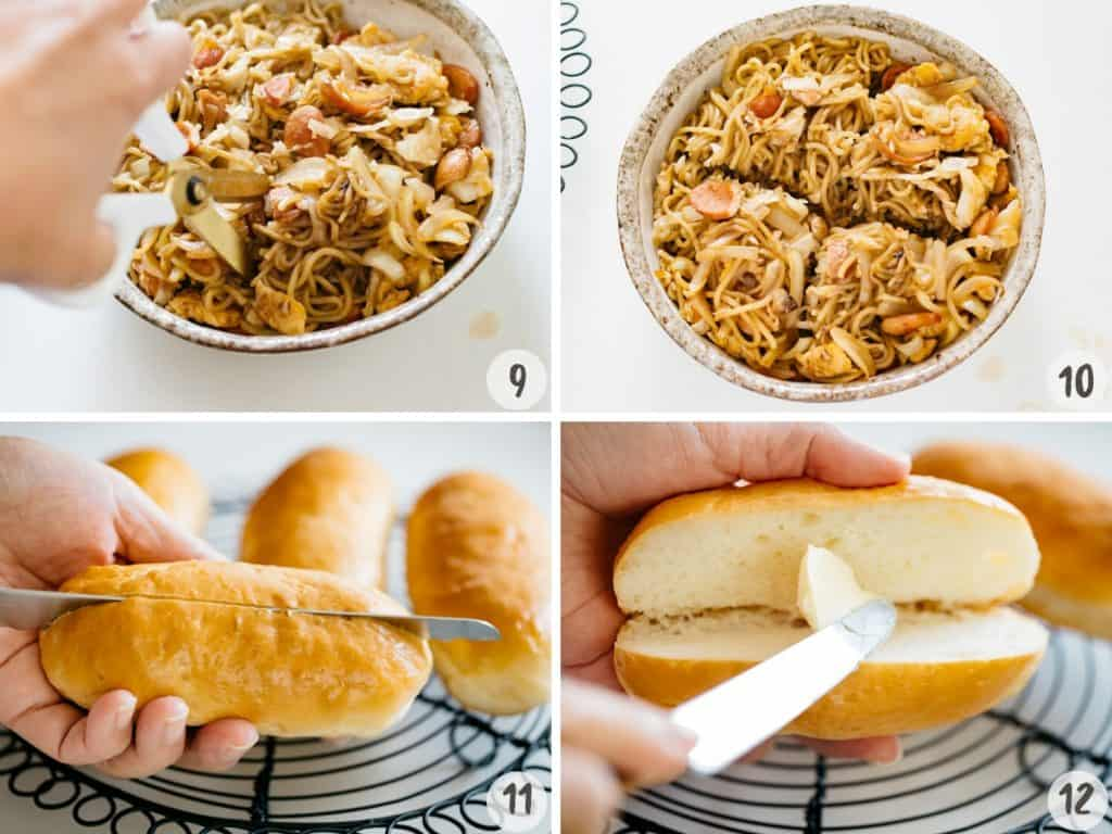 4 photo collage showing dividing the yakisoba into 4 and making a slit in a bun and spreading margarine