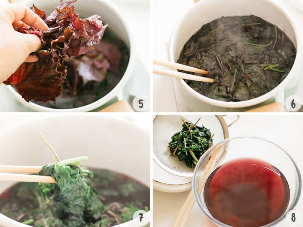 4 photos collage showing cooking shiso leaves in a pot