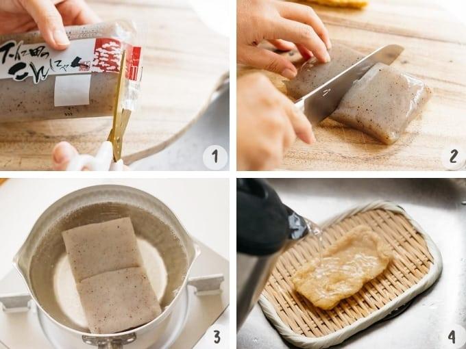 4 photo collage showing preparing konjac and age deep fried tofu