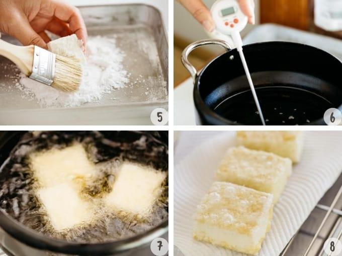 Dusting Katakuriko potato starch and deep frying the tofu