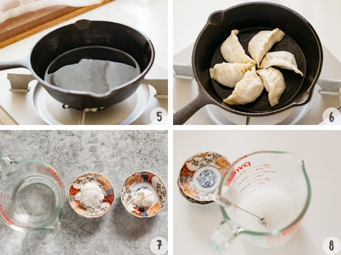 4 photo collage showing frying gyoza in a cast iron skillet and mixing potatostarch mixture