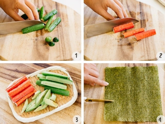 4 photo collage showing cutting cucumbers, imitation crab meat, and avocado and nori sheets.