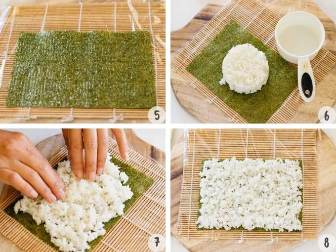4 photo collage showing layering sushi rice over a nori sheet