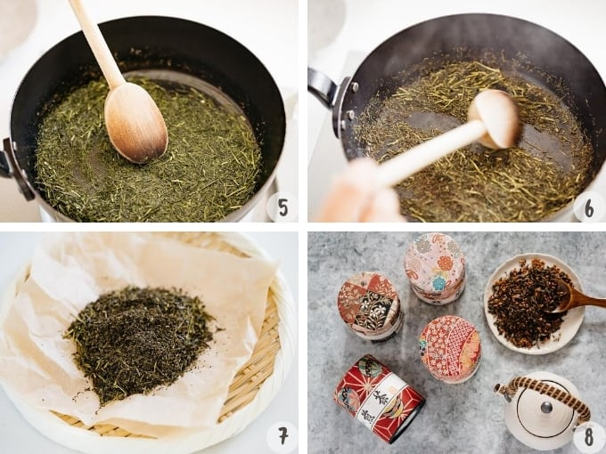 4 photo collage showing roasting sencha Japanese green tea in 4 steps