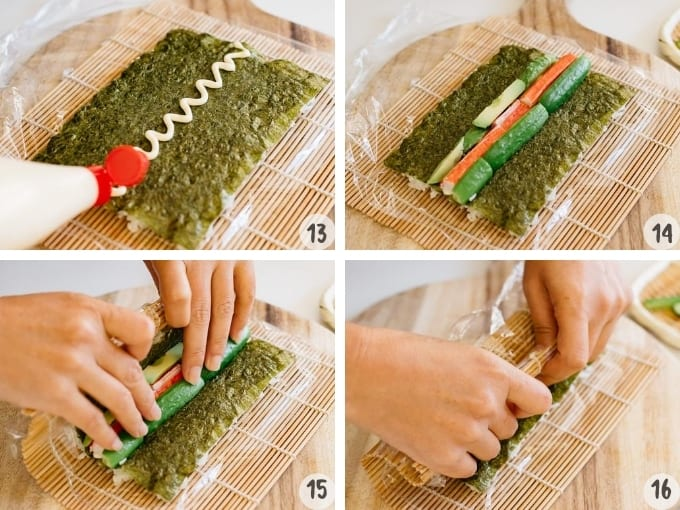 4 photo collage showing placing filling ingredients over a nori sheet