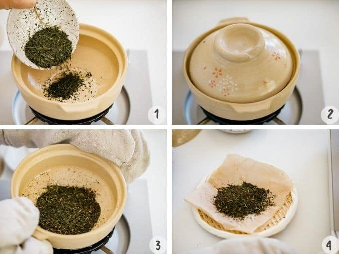 4 photo collage showing the process of roasting sencha with a claypot