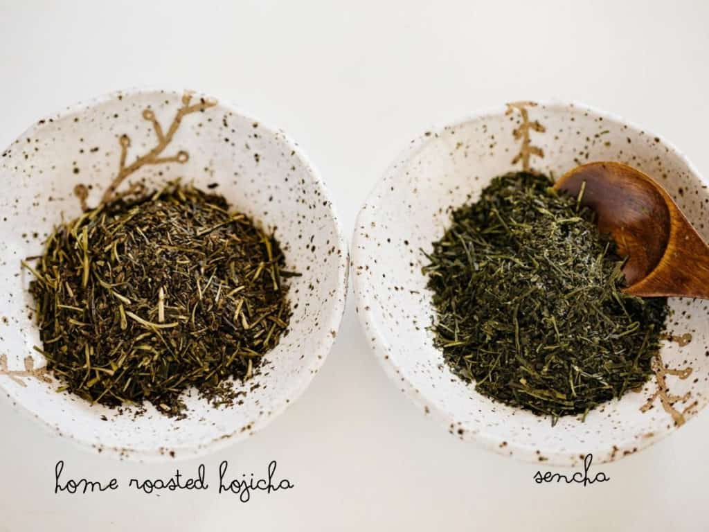 home roasted hojicha on the left and sencha on the right