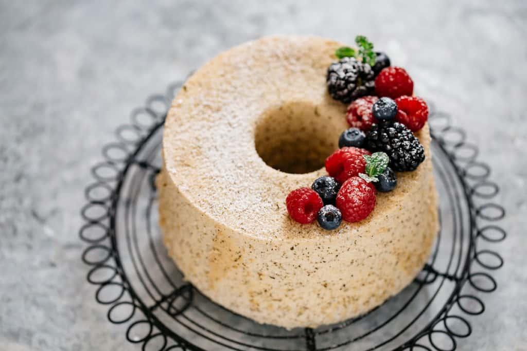 Hojicha chiffon cake topped with berries