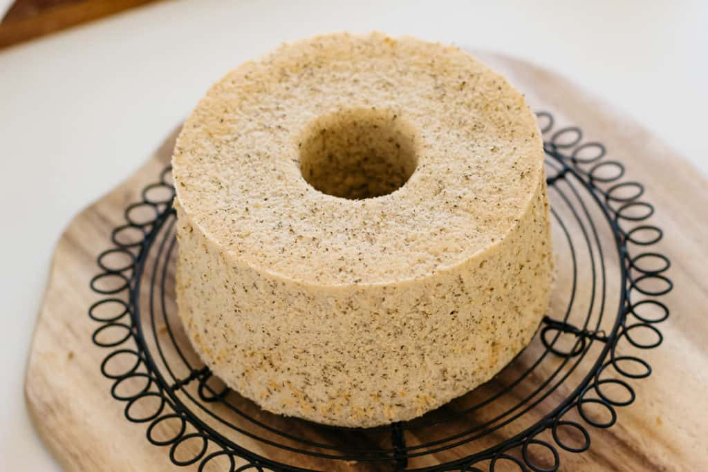 Hojicha Flavoured Chiffon Cake on cooling wire rack