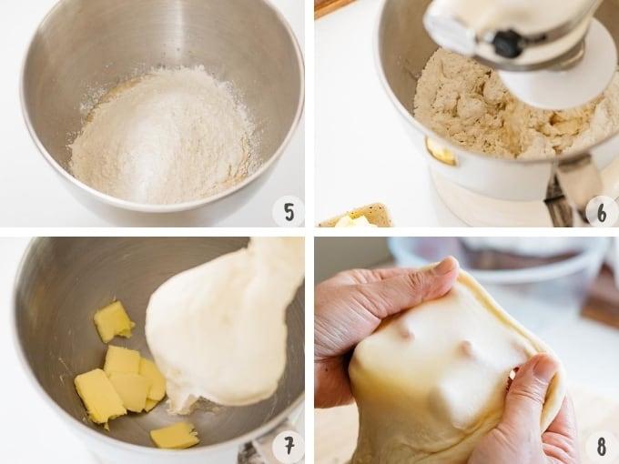 4 photo collage showing making anpan process