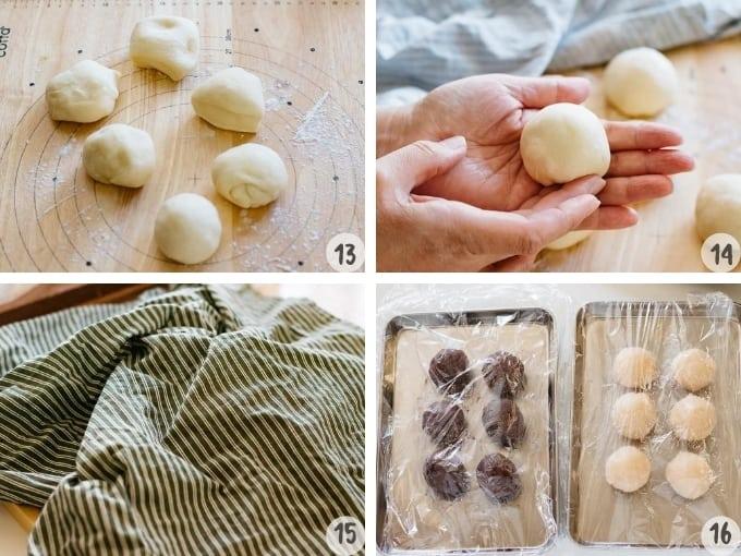 dividing the bread dough and sweet bean paste in 4 photos