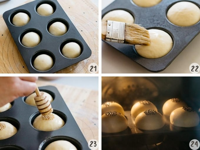 Shape and bake in preheated oven for 20 minutes in 4 photos
