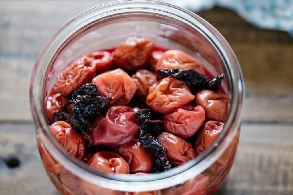 Umeboshi in a preserving jar