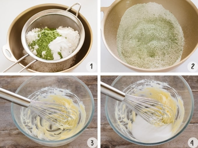4 photo collage of step by step shifting flour, and combining sugar and butter