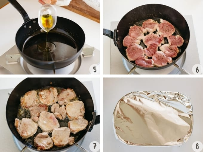 4 photo collage - heating oil in a frying pan, sliced pork being cooked in the frying pan and plate covered with aluminium foil