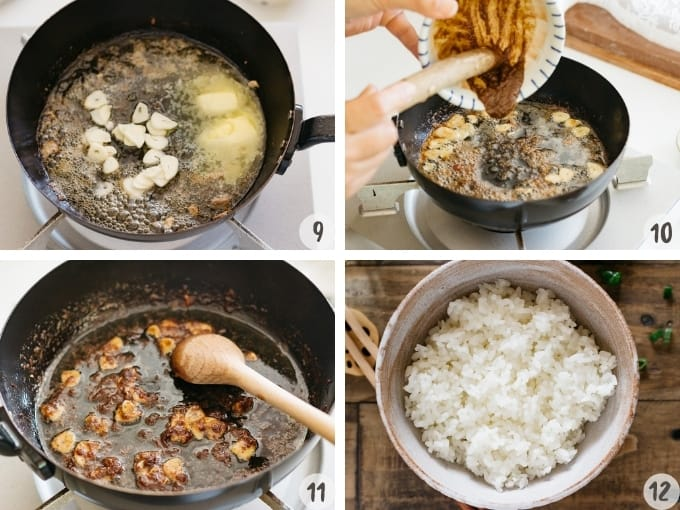 4 photo collage of butter and garlic in the frying pan, miso and soy sauce combined into the frying pan, and a bed of plain cooked rice in a Japanese rice bowl