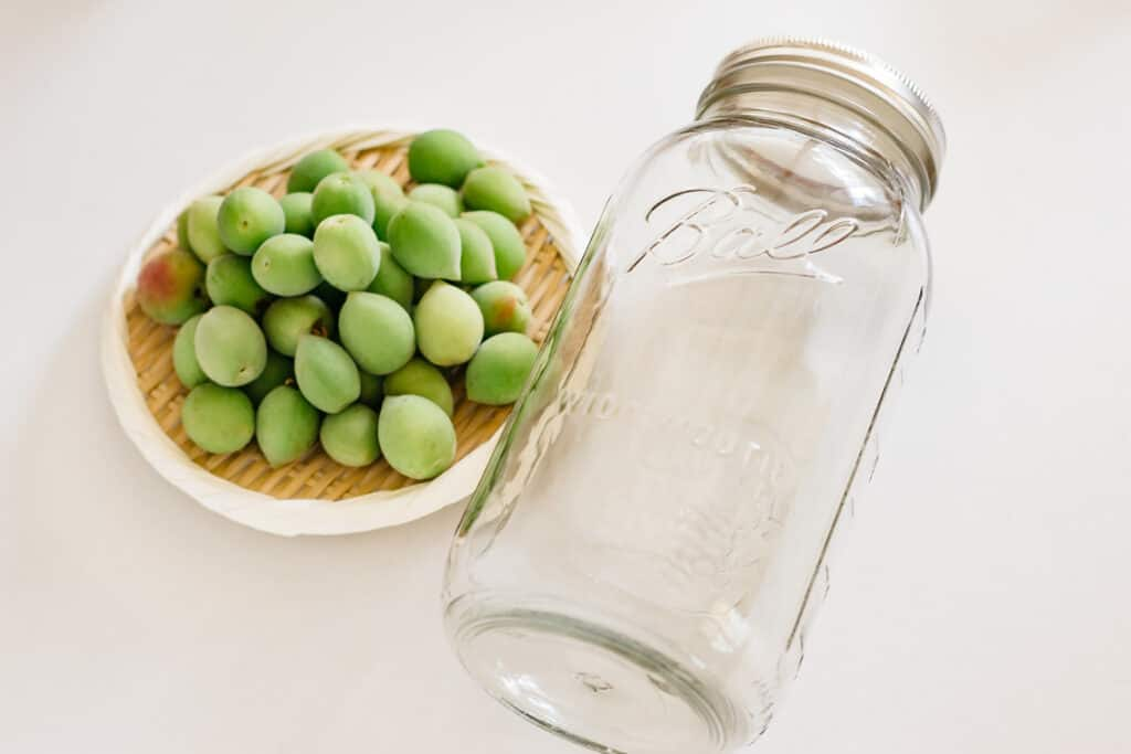 Plum fruits on the left and glass jar on the right
