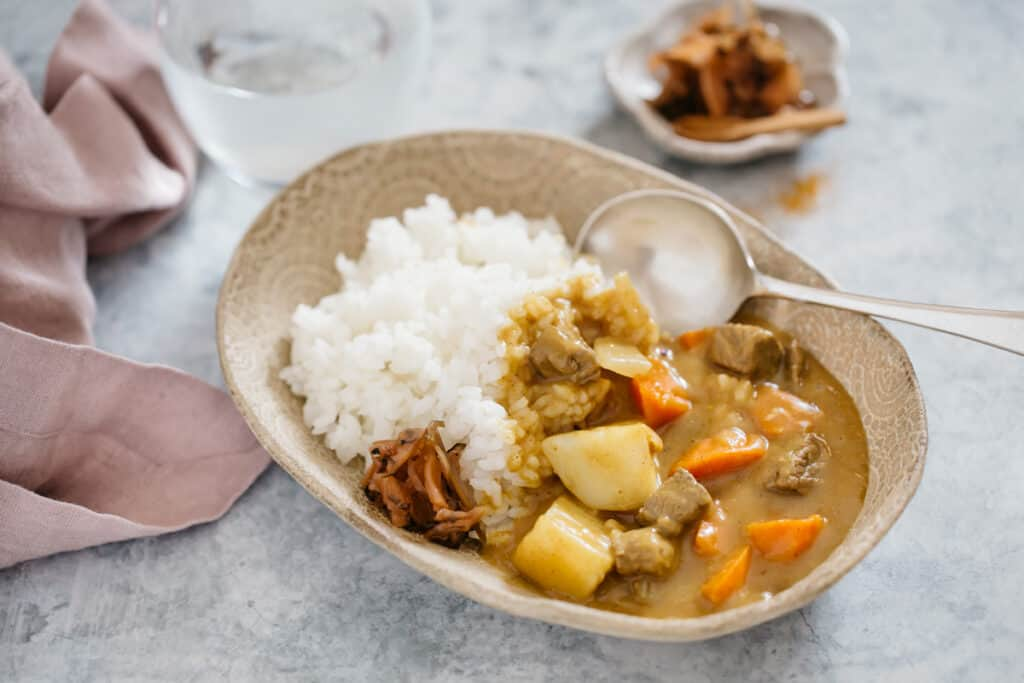 Japanese curry rice served in a oval bowel