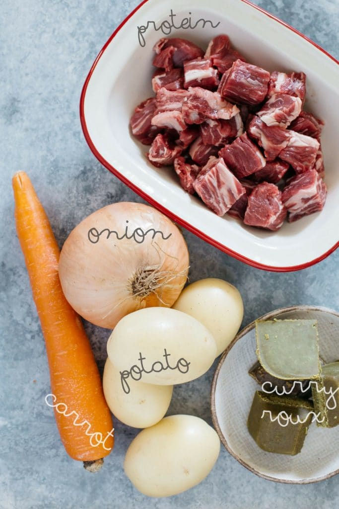 Ingredients needed to make Japanese curry rice, beef, onion, 4 potatoes, 1 carrot and curry roux.