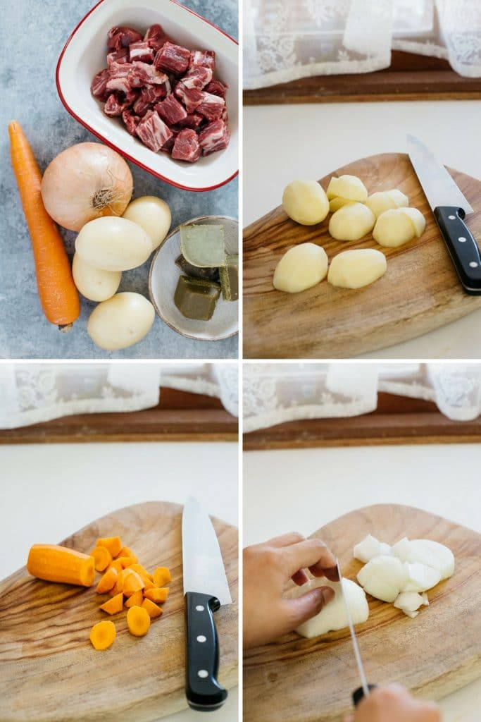 4 panels of photos showing how to cut each of Japanese curry rice ingredients