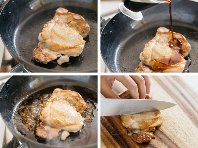 4 photos showing the the second half of making Teriyaki chicken process