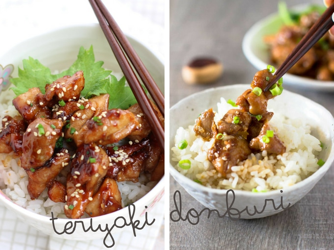 Teriyaki chicken served as teriyaki donburi. Teriyaki chicken served on a bed of plain white rice