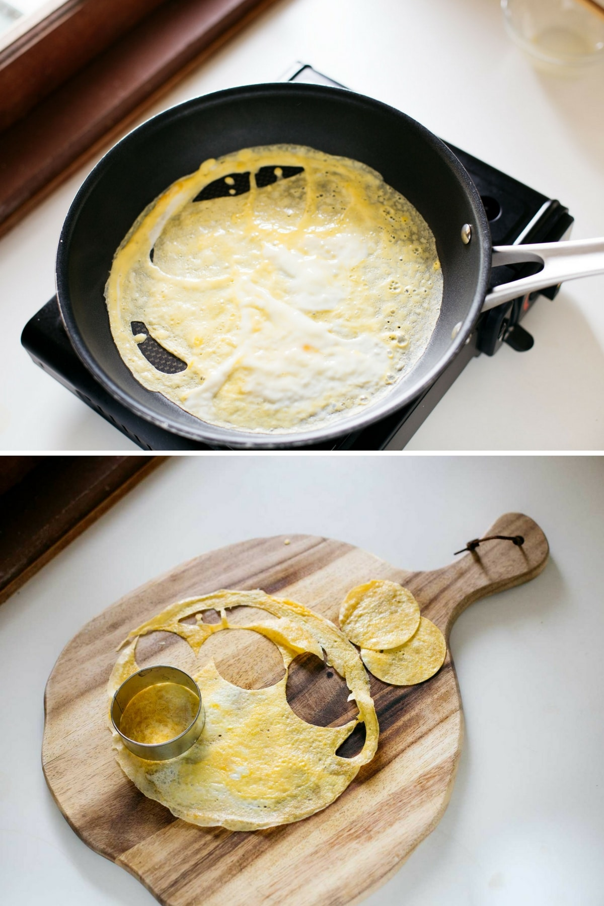 flat fried egg in a frying pan and cut out fried egg with a cookie cutter