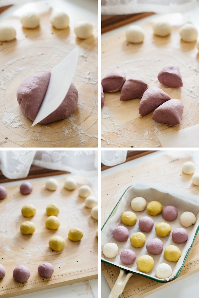 the third 4 steps of making halloween pull apart bread making process