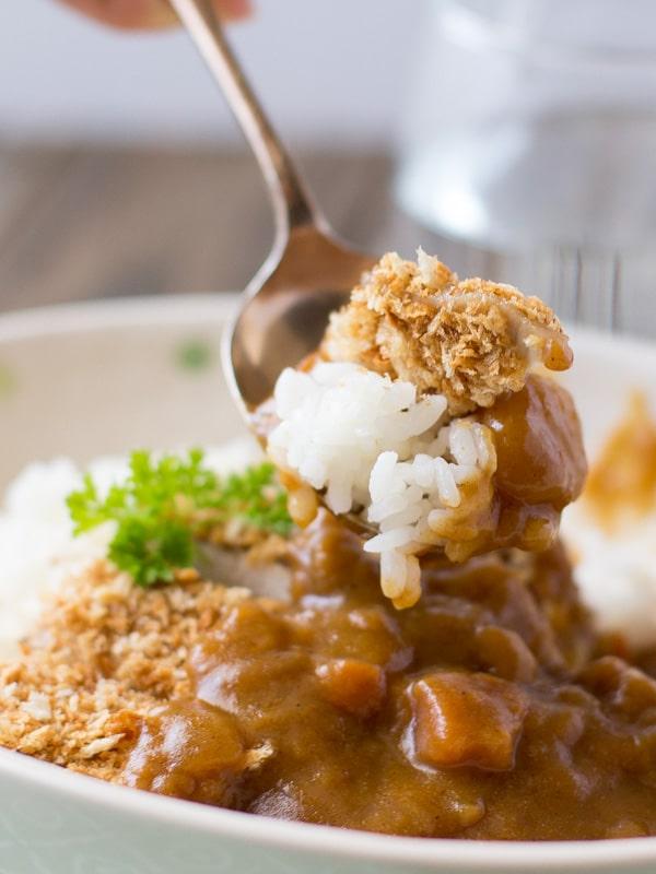 Baked Tonkatsu (Japanese Panko crumbed pork cutlet) Curry