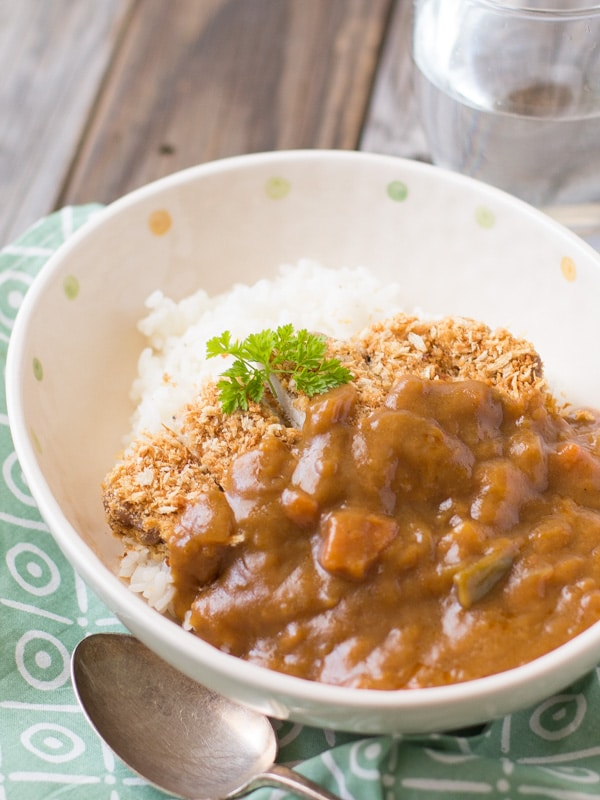 Baked Tonkatsu (Japanese Panko crumbed pork cutlet) Curry