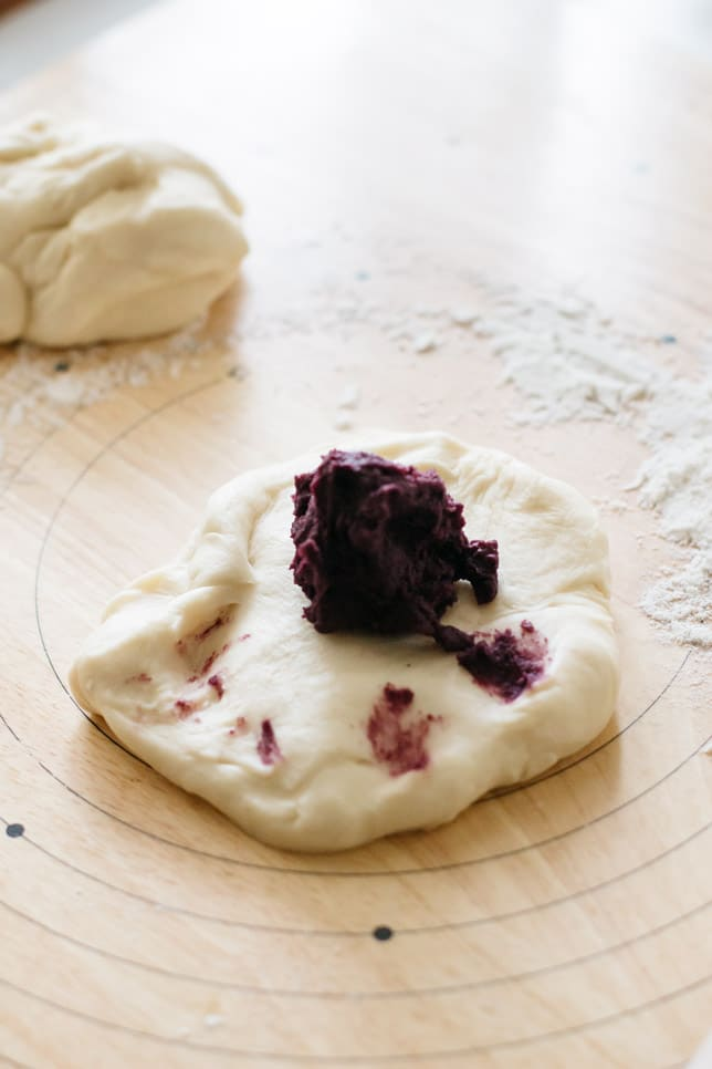purple sweet potato paste knead onto bread dough