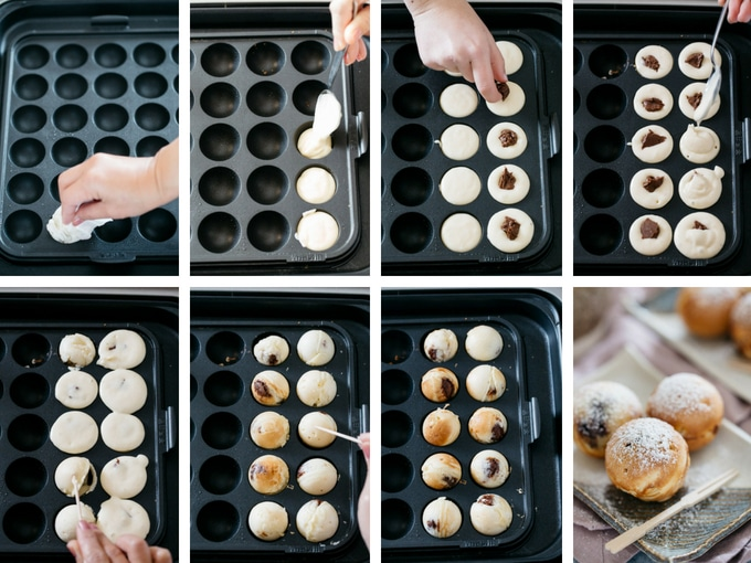 8 photos showing the process of making nutella dessert takoyaki