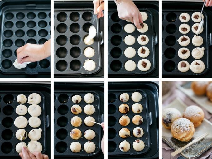 8 photos showing the process of making nutella dessert takoyaki