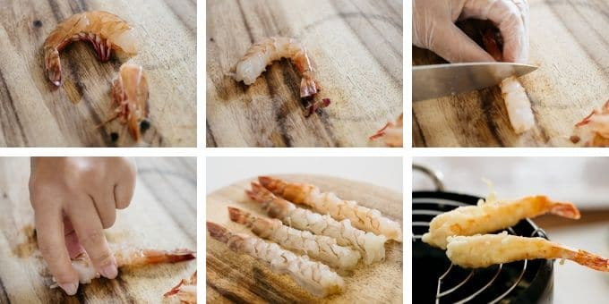 6 photos showing how to prepare prawn for the dish