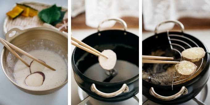 three photos showing deep frying process of tempura