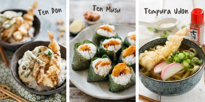 Tempura in other dishes, from left, tendon, Tenmusu and tempura udon
