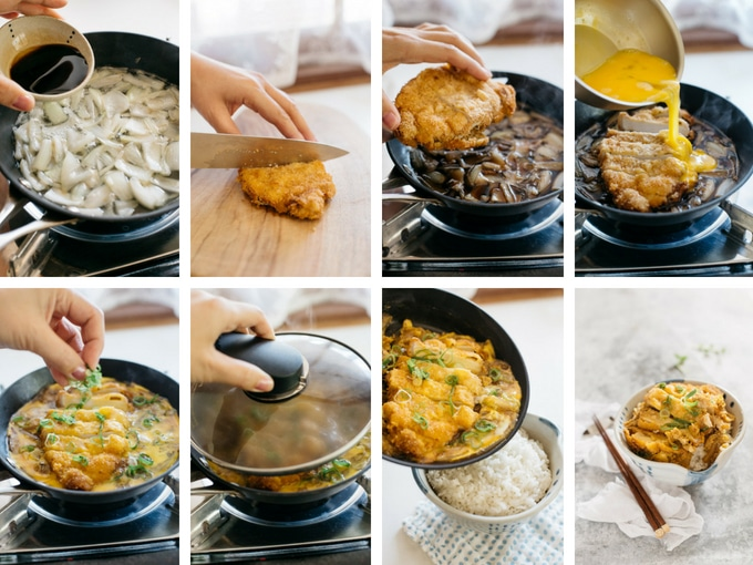 8 photos showing the second process of making Katsudon step by step
