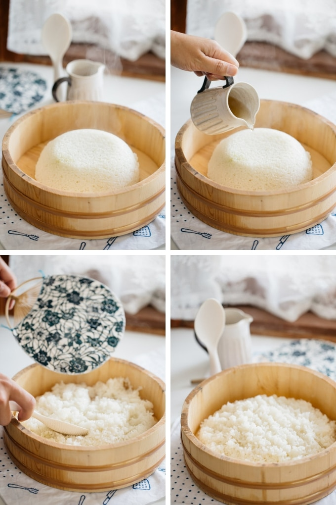 The last 4 steps of making sushi rice in 4 photos