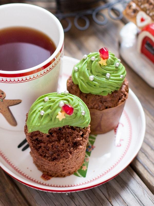 Matcha Christmas Tree Cup Cakes 4