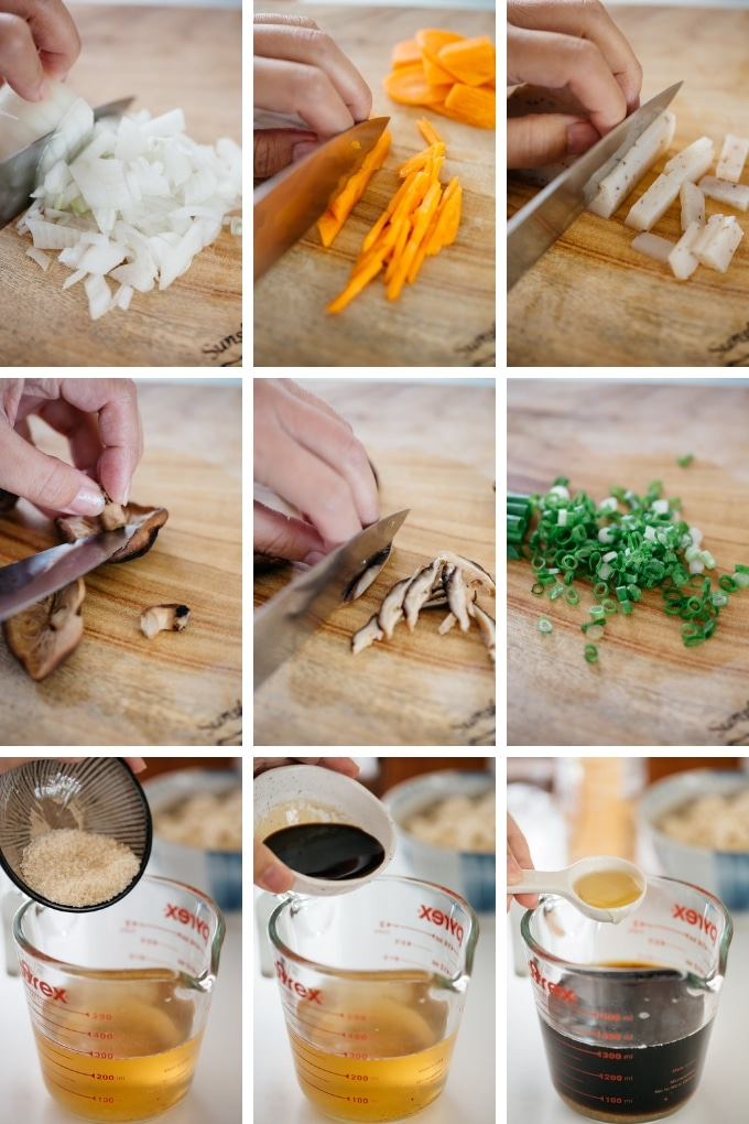 9 photos showing cutting onion, carrot, dried mushrooms, and scallions. Also adding seasonings to dashi stock.