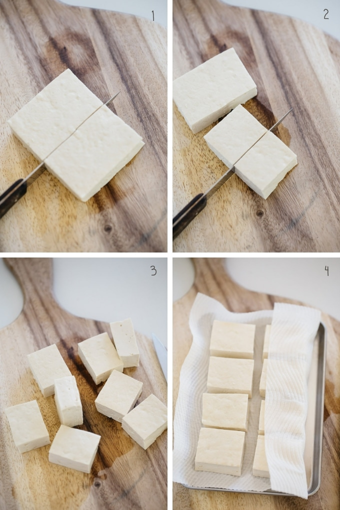 The first 4 steps of how to make Japanese vegan food Agedashi tofu in 4 photos