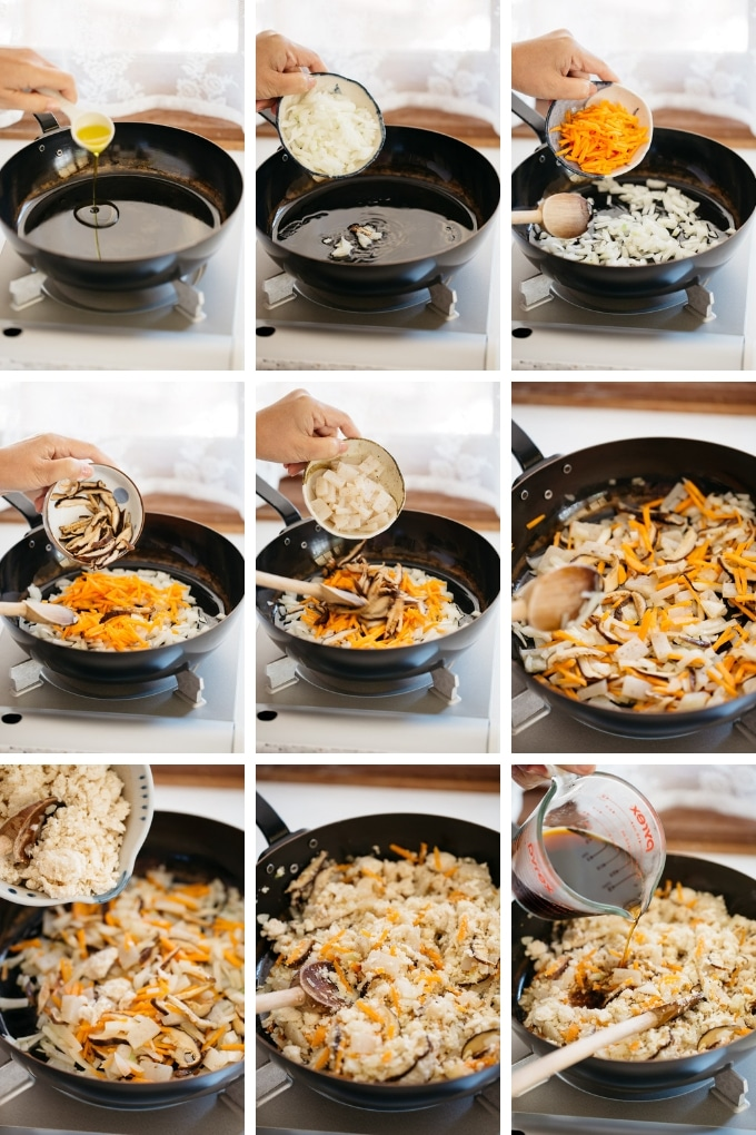 9 photos showing sauteing vegetables and okara in a frying pan.