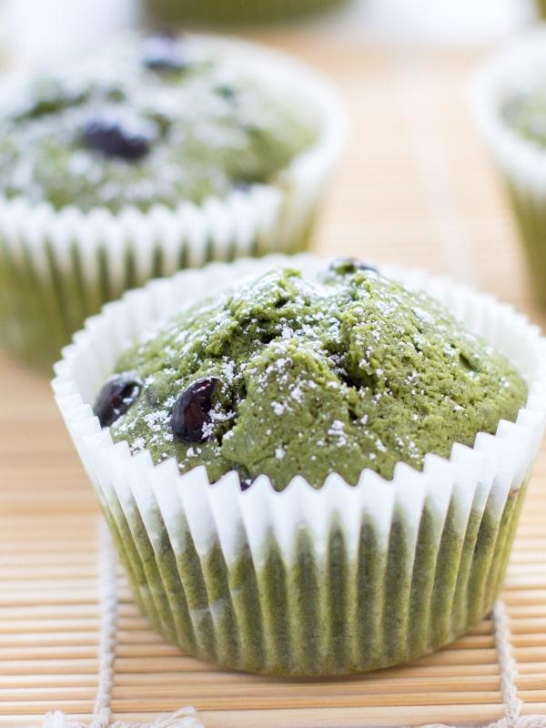 Matcha Green Tea Muffins with Kuromame