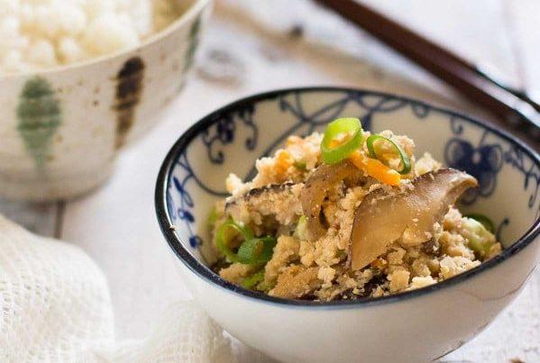 Okara served in a small bowl