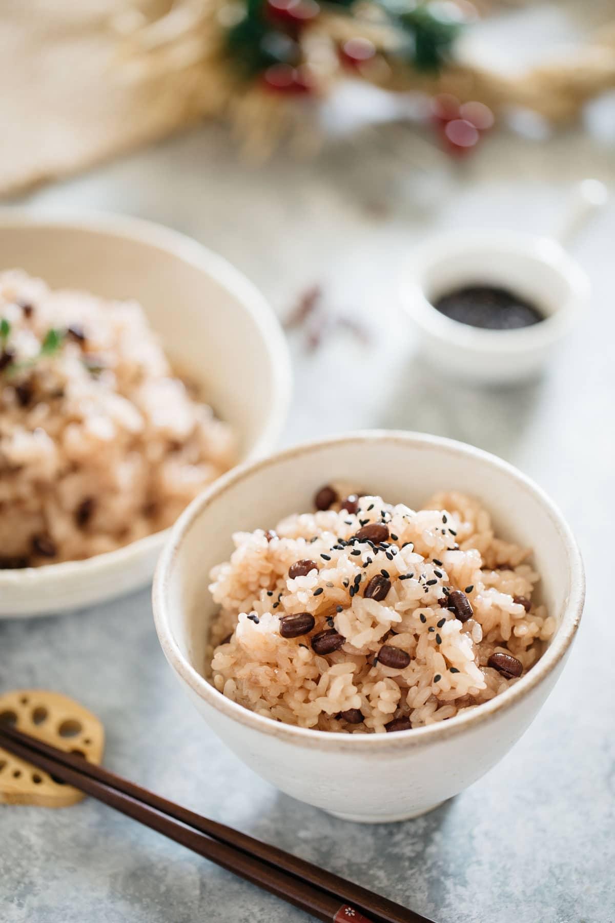 Sekihan Azuki bean rice in a rice bowl