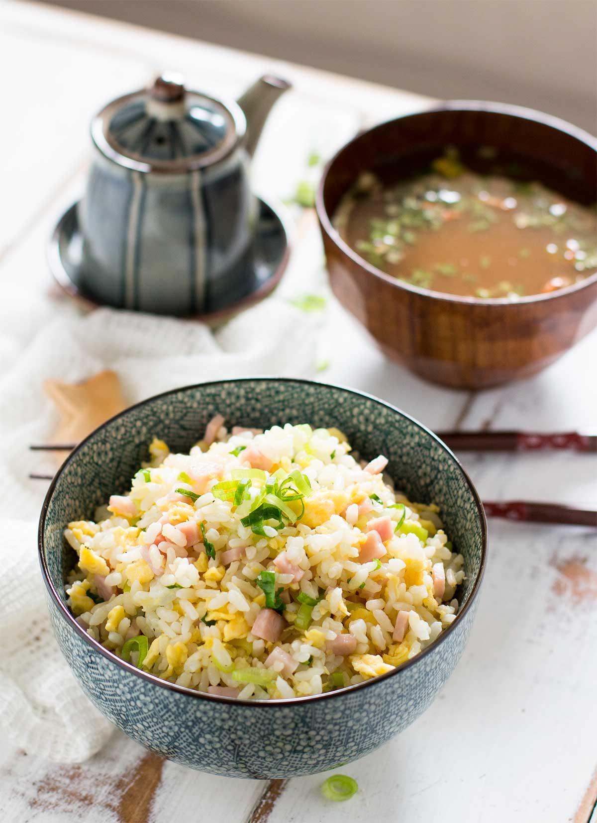 Japanese fried rice served in a blue rice bowl and miso soup