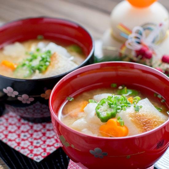 Ozoni – Miso Soup with Mochi (Rice Cake)